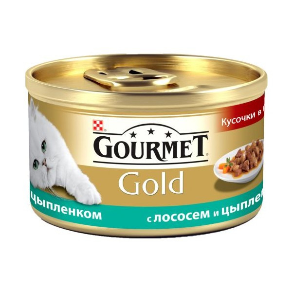 Gourmet Gold (Гурмет Голд) кусочки в подливке с лососем и цыпленком -  85г - Интернет - магазин Три Кота в Одессе