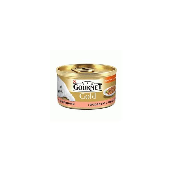 Gourmet Gold (Гурмет Голд) кусочки в подливке с форелью и овощами -  85г - Интернет - магазин Три Кота в Одессе