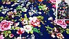 Ткань темно-синяя креп-костюмка с цветочным принтом