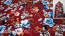 Ткань бордовая креп-костюмка с цветочным принтом