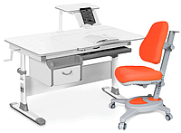 Комплект Evo-kids Evo-40 G Grey (арт. Evo-40 G + кресло Y-110 KY/(стол+ящик+полка+кресло)/ белая столешница, ц