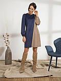 Оригинальное вельветовое платье прямого кроя двухцветное, фото 5