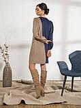 Оригинальное вельветовое платье прямого кроя двухцветное, фото 6