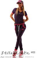Спортивный костюм Найк с малиновым кантом, фото 1