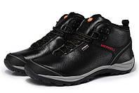 Merrell Faster New черные / мужские высокие  ботинки / натуральная кожа / трекинговые