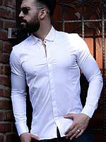 Мужская стильная рубашка с длинным рукавом, белого цвета