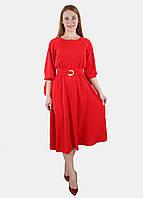 Платье женское миди с завязками на шее 44-50 р ( разные цвета ) 46, Красный