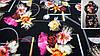 Ткань черная креп-костюмка с цветочным принтом