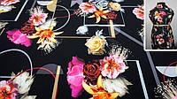 Ткань черная креп-костюмка с цветочным принтом, фото 1