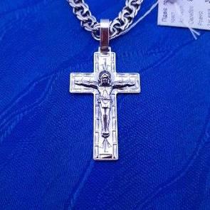 Серебряный крестик. Мужской кулон - крестик из серебра. (Цепочка отдельно)
