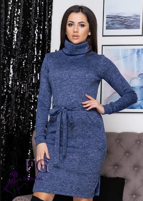 Синє офісне теплу сукню під горло за поясом і кишенями великий розмір ангора
