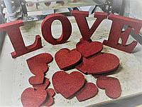 Набор украшений на 14 февраля. Сердечки и буквы LOVE на день влюбленных. LOVE SEASON