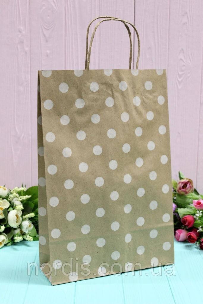 Бумажный подарочный крафт пакет.  24*37*10см