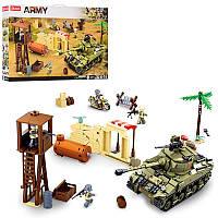 Конструктор воееный Армия, военная база и танк - сцена зона сражений на 790 деталей, SLUBAN M38-B0713