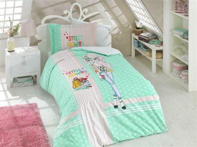 Подростковое постельное белье HOBBY Poplin Street Fashion мята
