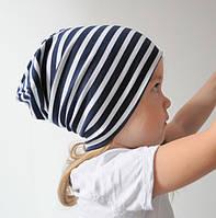 Детская весенняя шапочка бини. Цвет: сине-белая полоса. ОГ 46, 48, 50, 52, 54 см