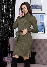 Бордовое нарядное теплое платье миди из ангоры под горло большой размер, фото 2