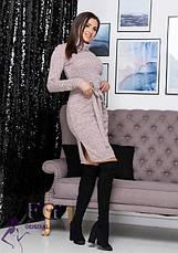 Бордовое нарядное теплое платье миди из ангоры под горло большой размер, фото 3