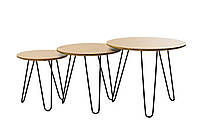 Комплект журнальных столов CS-15 МДФ орех в стиле лофт от Vetro Mebel