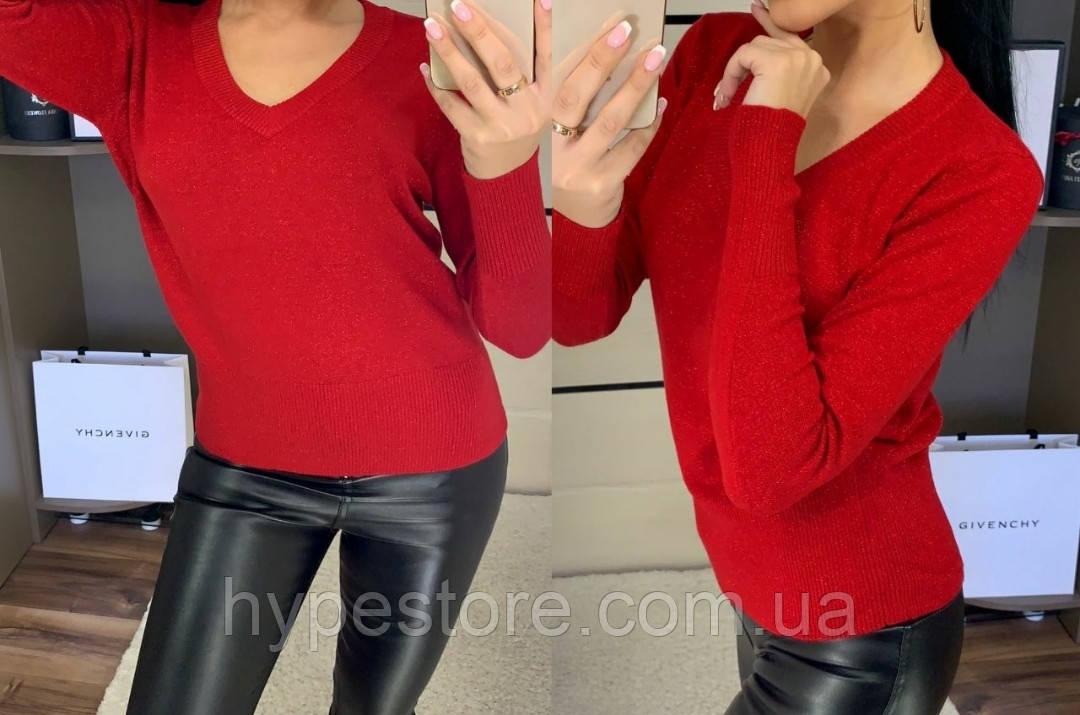Красивый женский свитер, джемпер с v-образным вырезом