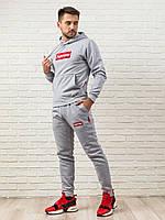 Теплый мужской спортивный костюм Supreme (Суприм), серая худи с капюшоном и мужские теплые спортивные штаны
