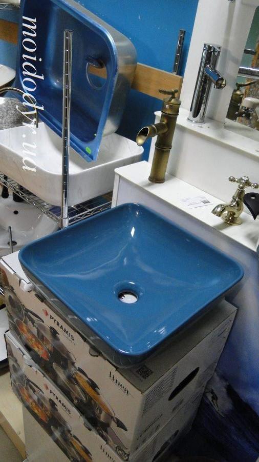 Умывальник керамический накладной 38х38 бирюза