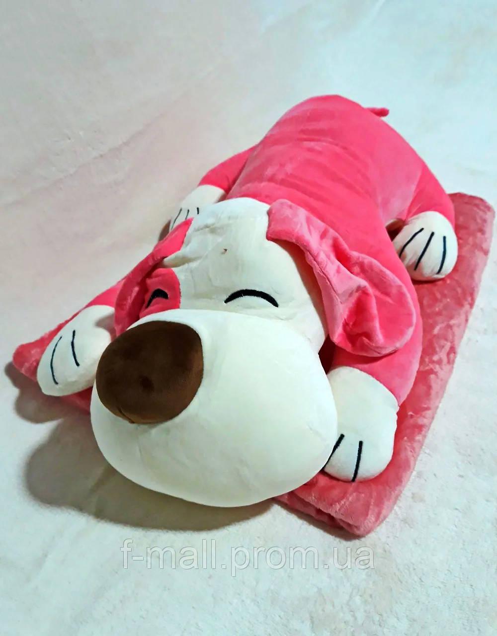 Плед мягкая игрушка 3 в 1 Собака розовая (18)