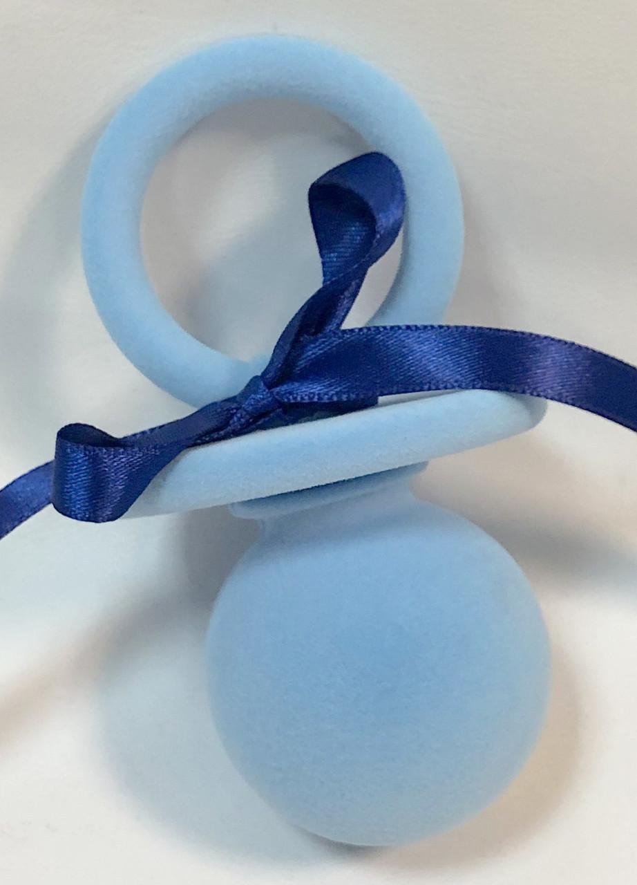 "Футляр для кольца бархатный ""Пустышка"" голубой 163"