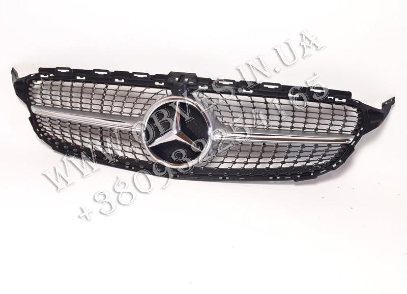 Решетка радиатора Mercedes C-class W205 Diamond Style Silver (Elegant, AMG-пакет версии бампера)