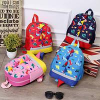 Рюкзаки Детские дошкольные 3D рюкзак Динозаврики с принтом розовый и темный синий