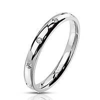 Женское кольцо из стали с фианитами от Spikes, р. 15.7, 16.5, 17.3, 18, 19, фото 1
