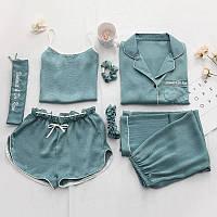 Комплект шелковый для сна, дома из 7 предметов, набор. Пижама женская, размер L (бирюзовый), фото 1