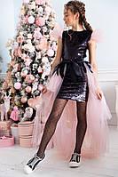 Детское нарядное красивое платье пайетка + длинная юбка шлейф размер: 134, 140, 146, 152