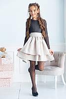 Детское нарядное красивое платье верх сетка нихз мемори размер: 134, 140, 146, 152