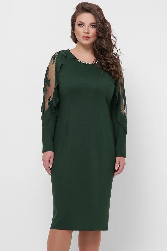 Женское нарядное платье Рамина изумруд(52-58)