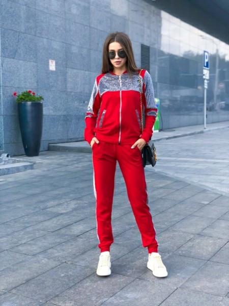 Женский стильный спортивный красный костюм, со вставками из плотного люрекса