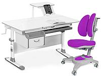 Комплект Evo-kids Evo-40 G Grey (арт. Evo-40 G + кресло Y-115 KS) /(стол+ящик+полка+кресло)/ белая столешница,
