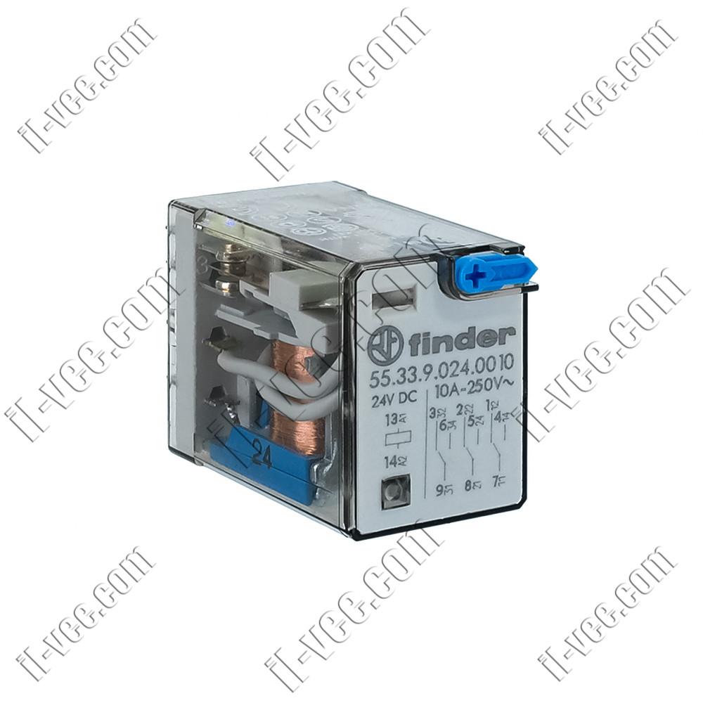 Реле FINDER 55.33.9.024.0010, 24VDC, 10А/250VAC 10А/30VDC