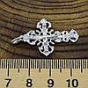 Серебряный крестик Православный размер 35х20 мм вставка белые фианиты вес 1.5 г, фото 3