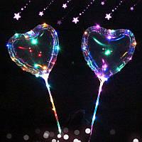 """Воздушный шар-сердце Bobo светящийся, 18"""" (45см), на палочке, Китай"""