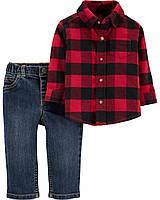 Клетчатая рубаха и джинсовые брюки