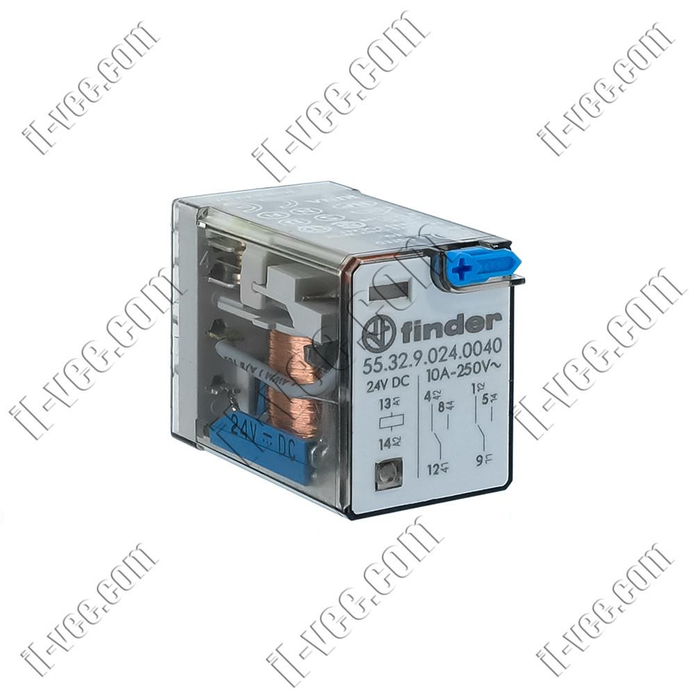 Реле FINDER 55.32.9.024.0040, 24VDC, 10А/250VAC 10А/30VDC