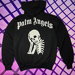 Толстовка чёрная Palm Angels skeleton | худи Палм Анжелс | Палм Ангелс кенгуру