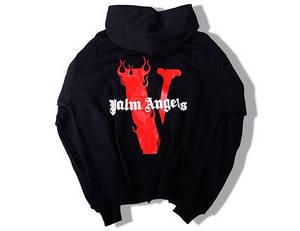 Толстовка чёрная Palm Angels x Vlone Red | худи Палм Анжелс | Палм Ангелс кенгуру