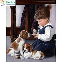 """Алмазная мозаика """"Девочка с собачкой"""", картина стразами 25*30см"""