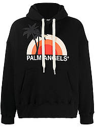 Толстовка чёрная Palm Angels Sun | худи Палм Анжелс | Палм Ангелс кенгуру