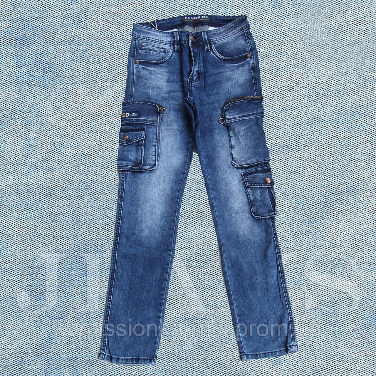 Джинсы мужские с накладными карманами FANGSIDA размеры 29,30,31,32,34,36