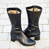 Зимние женские сапоги из натуральной кожи на каблуке черные 134019, фото 4