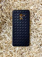 """Чехол """"Кожаное Плетение"""" для Samsung A8 Plus, Black"""