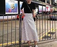 Стильная длинная юбка в горошек, большие размеры